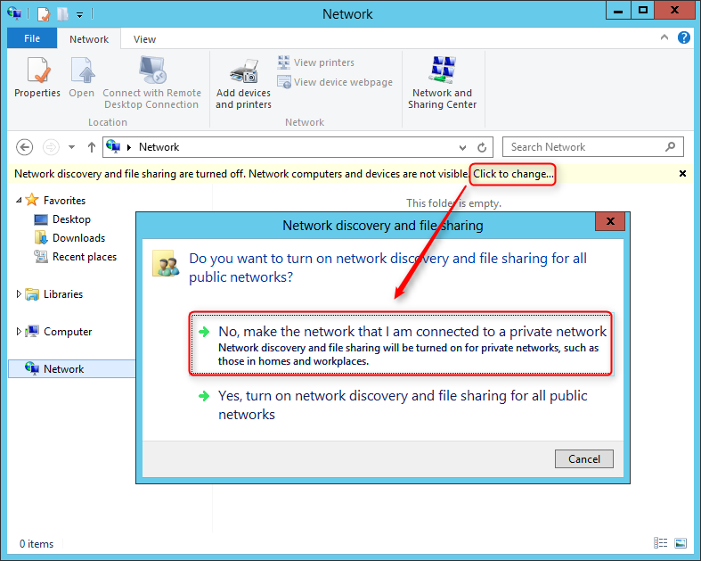 windows firewall change public to private server 2012